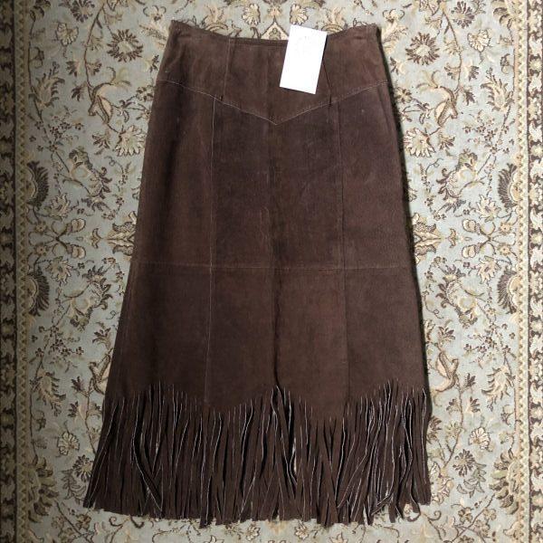 781002d482 Pre-loved News Casual Genuine Pig Suede Fringe Trim Pencil Skirt -  Artefacts Emporium